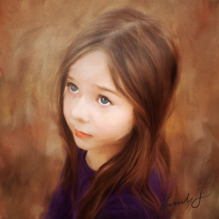 This is a photo I took of my daughter. Those beautiful eyes were just begging for a traditional oil painting style.